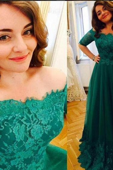 Long Green Lace Prom Dress Gown with Half Sleeves,Formal Dress,Cocktail Dress,Evening Dress,Party Dress,Graduaiton Dress Cheap