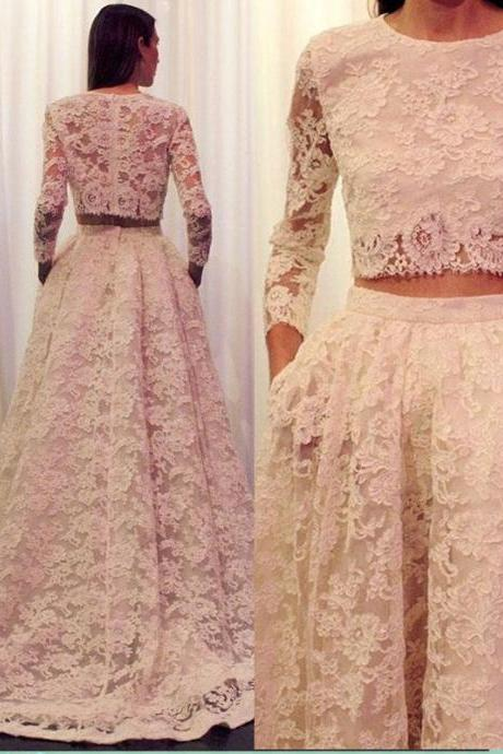 Two Piece Lace Prom Dress Gown Long Sleeves,Formal Dress,Cocktail Dress,Evening Dress,Party Dress,Graduaiton Dress Cheap