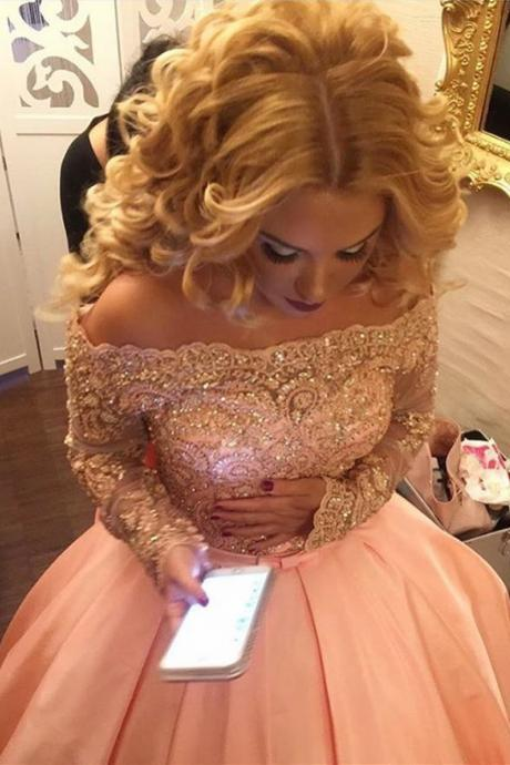 Lace Pink Prom Gown Dress Long Sleeves,Quinceanera Dress,Evening Dress,Formal Dress,Cocktail Dress,Party Dress,Graduaiton Dress Cheap