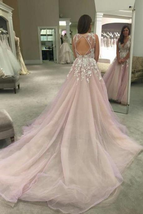 Baby Pink Lace Prom Dress Gown Long Train Cheap,Evening Dress,Formal Dress,Cocktail Dress,Party Dress,Graduation Dress