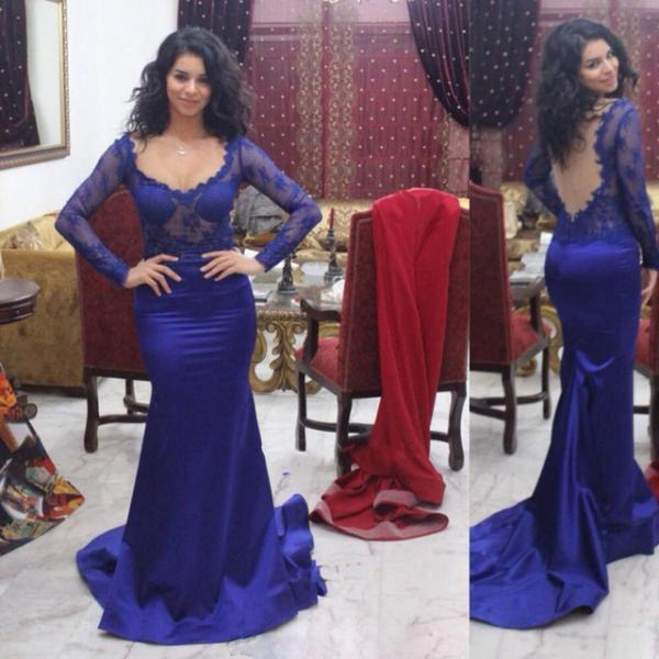 Mermaid Royal Blue Illusion Prom Dress Gown Long Sleeves Cheap,Evening Dress,Formal Dress,Cocktail Dress,Party Dress,Graduation Dress