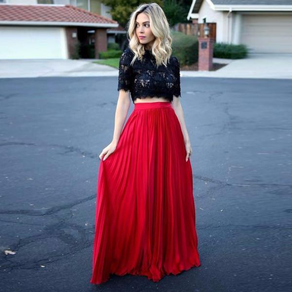 Black and Red Prom Dress Gown with Short Sleeve 2017,Two Piece Prom Dress,Evening Dress,Formal Dress,Cocktail Dress,Party Dress,Graduation Dress