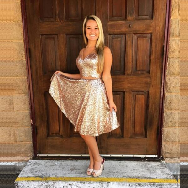 Gold Sequins Prom Dress Gown Knee Length 2017,Homecoming Dress,Evening Dress,Formal Dress,Cocktail Dress,Party Dress,Graduation Dress Two piece prom dress