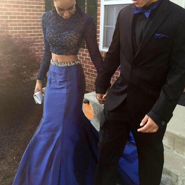 Two Piece Mermaid Prom Dress Gown with Long Sleeves 2017,Prom Dress Royal Blue,Heavy Beaded Prom Dress,Homecoming Dress,Evening Dress,Formal Dress,Cocktail Dress,Party Dress,Graduation Dress Two piece prom dress