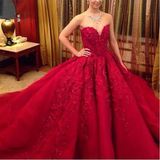 Gorgeous Red Wedding Dresses Princess A line Quinceanera with Long Train Sweet 15 16 Dress Cheap Custom 2018