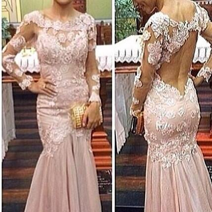 Pink Long Mermaid Prom Dresses Backless Sexy Formal Evening Gown Long Sleeves Cheap Party Dress Custom Plus size 2018