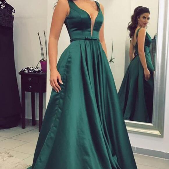 Women's A line V neck Prom Dresses Long Green Formal Evening Ball Gown Gown Cheap Party Dress Sexy Custom Plus size 2018