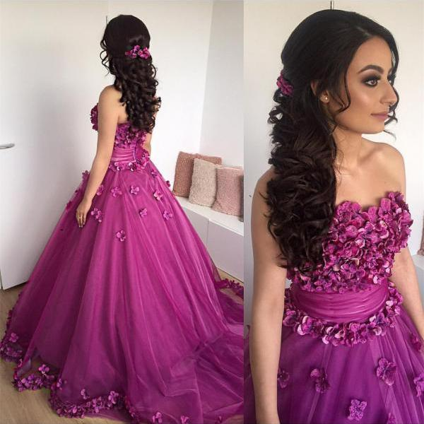 A line Princess Strapless Purple Prom Dresses Long with Appliques Formal Evening Gown Junior Senior Cheap Party Dress Custom Plus size 2018