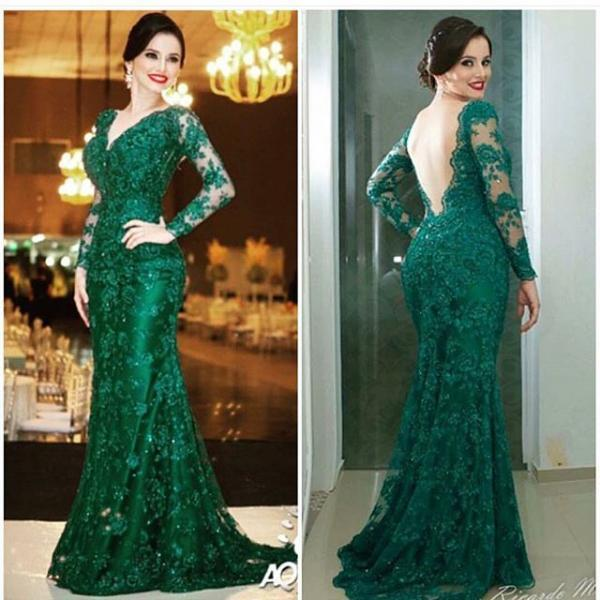 Women's Green Long Sleeves Lace Prom Dresses with Illusion Back Elegant Formal Evening Gown Cheap Party Dress Custom Plus size 2018