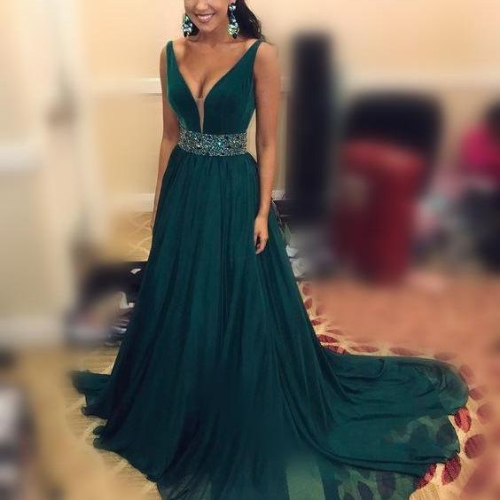 56ab8398aed ... A line V neck Chiffon Dark Green Prom Dresses with Beaded Sash Long Elegant  Formal Evening