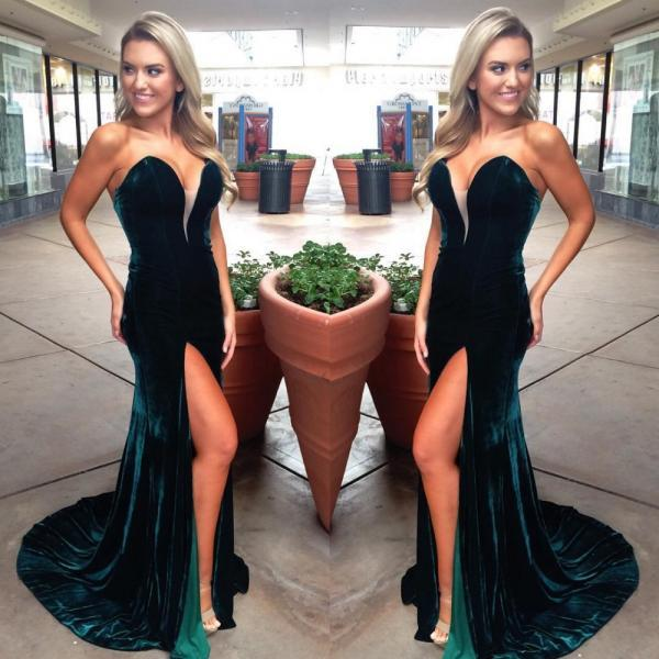 Women's Velvet Long Sexy Sweetheart Dark Green Prom Dresses with High Slit Elegant Formal Evening Gown Cheap Party Dress Custom Plus size 2018