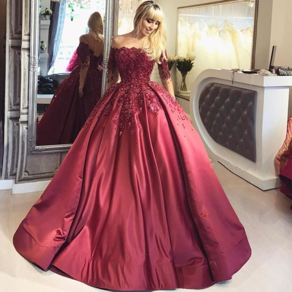 A line Ball Gown Burgundy Prom Dresses Long Sleeves with Appliques Formal Evening Gown Quinceanera Dress Party Dress Custom Plus size 2018