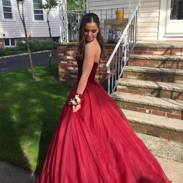 A line Princess Sweetheart Tulle Burgundy Prom Dresses Long Elegant Formal Evening Gown Cheap Party Dress Junior Senior Custom Plus size 2018