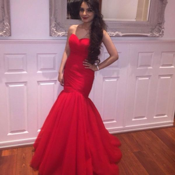Red Tulle Long Mermaid Prom Dresses Sweetheart Elegant Formal Evening Gown Cheap Party Dress Junior Senior Custom Plus size 2018