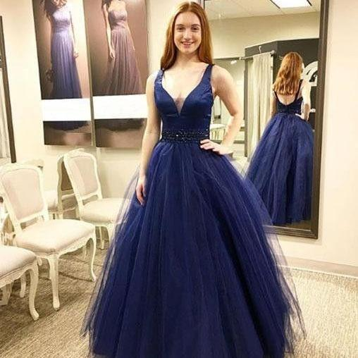 A line V neck Navy Blue Tulle Satin Prom Dresses Long Elegant Formal Evening Gown Cheap Party Dress Junior Senior Custom Plus size 2018