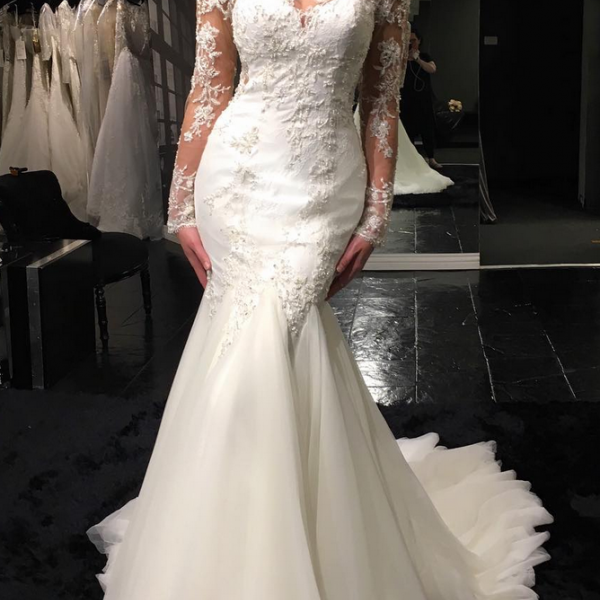 Mermaid Tulle Lace Wedding Dresses with Long Sleeves Wedding Gown Bridal Dress Illusion Back Cheap Custom Plus Size 2018