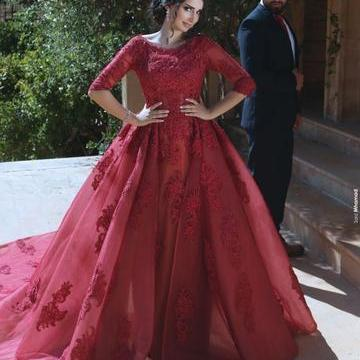 A line Ball Gown Long Burgundy Lace Prom Dresses with Sleeves Formal Evening Gown Quinceanera Dress Party Dress Custom Plus size 2018