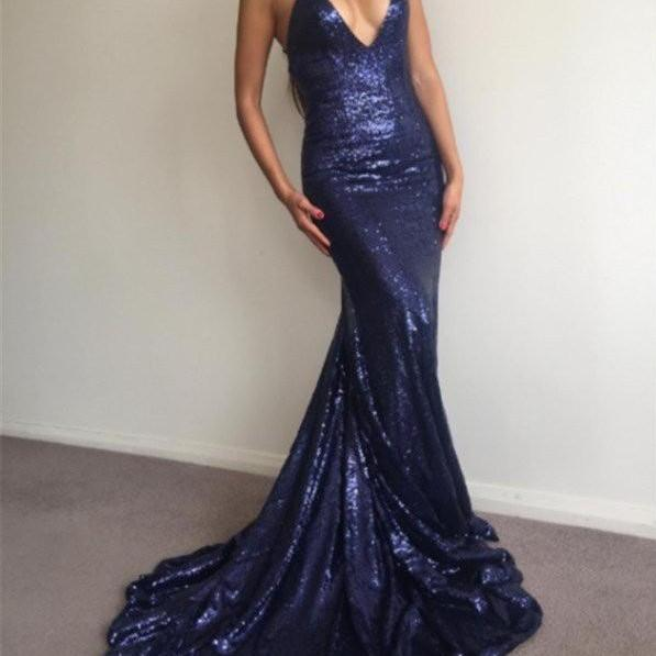 Mermaid Ball Gown Navy Blue Sequins Prom Dresses with Spaghetti Straps Backless Formal Evening Gown Sexy Party Dress Custom Plus size 2018