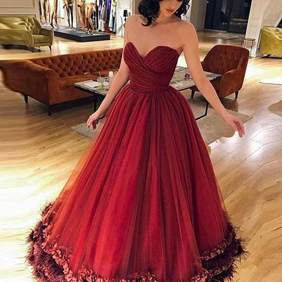 A Line Sweetheart Princess Wine Red Prom Dresses Long Burgundy Elegant Formal Evening Gown Party Dress Senior Junior Custom Plus size 2018