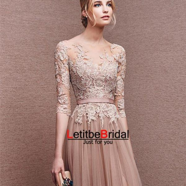 2016 Long Tulle Lace Champagne Prom Dresses with Half Sleeves Formal Evening Dresses Graduation Party Dresses