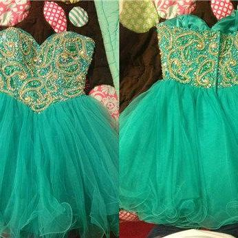 2016 Cheap Ball Gown Sweetheart Beaded Tulle Short Turquoise Prom Dresses Gowns, Formal Evening Dresses Gowns, Homecoming Graduation Cocktail Party Dresses,Custom Plus size