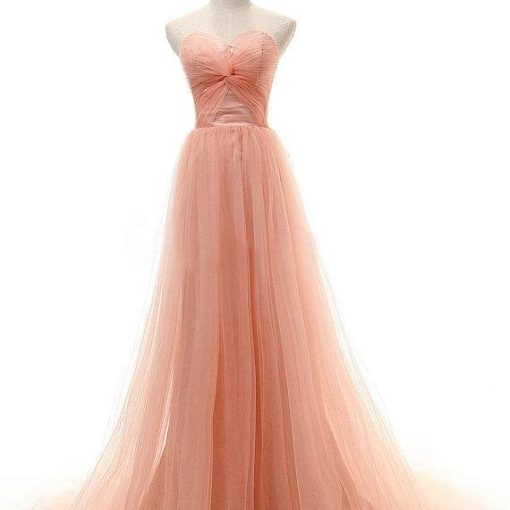 2016 Cheap A line Sweetheart Tulle Coral Pink Long Prom Dresses Gowns, Formal Evening Dresses Gowns, Homecoming Graduation Cocktail Party Dresses,Custom Plus size