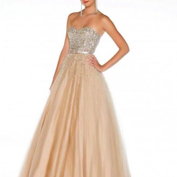 Cheap Sweetheart Heavy Beaded Bling Bling Tulle Long Champagne Prom Dresses 2016 Ball Gowns, Formal Evening Dresses Gowns, Homecoming Graduation Cocktail Party Dresses Custom Plus size