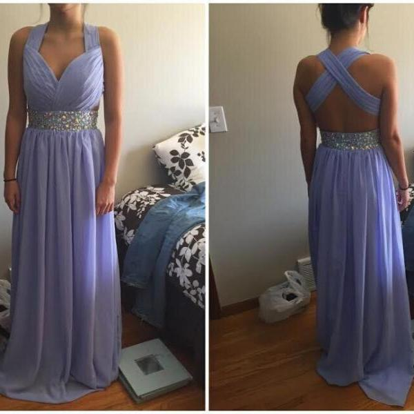 Cheap A line V neck Crossover Back Lavender Sexy Prom Dresses Gowns Long 2016,Formal Evening Dresses,Homecoming Graduation Cocktail Party Dresses, Custom Plus size