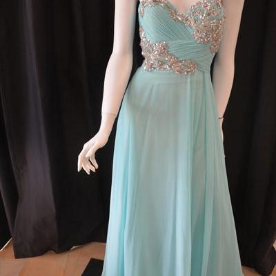 Custom Cheap Ball Gown Sweetheart Beaded Chiffon Blue Long Prom Dresses Gowns 2016,Formal Evening Dresses Gowns, Homecoming Graduation Cocktail Party Dresses Plus size