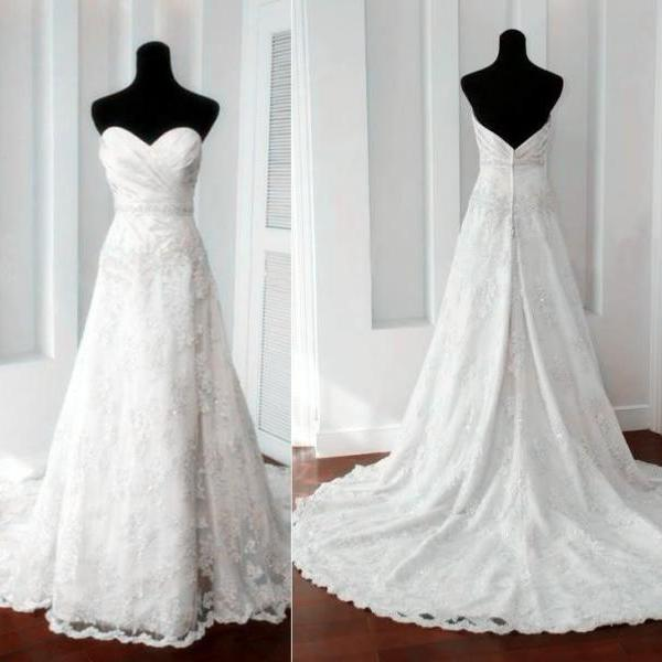 Custom A line Sweetheart Low Back Ivory Lace Wedding Dresses 2016 Gowns with Long Train, Bridal Dresses Gowns