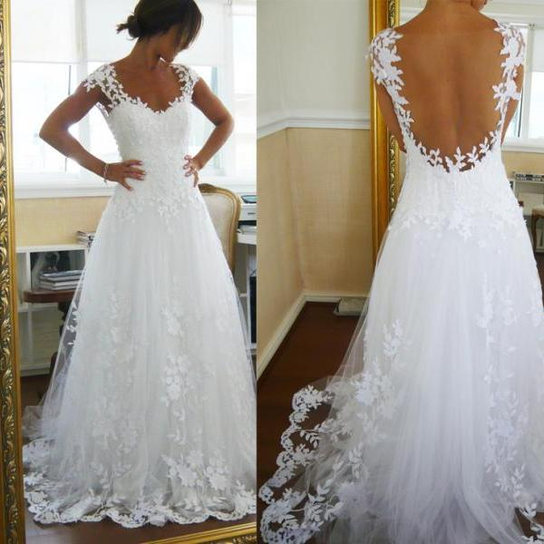 Floral Appliques Plunge V Cap Sleeves Floor Length Tulle A-Line Wedding Dress Featuring Open Back and Train