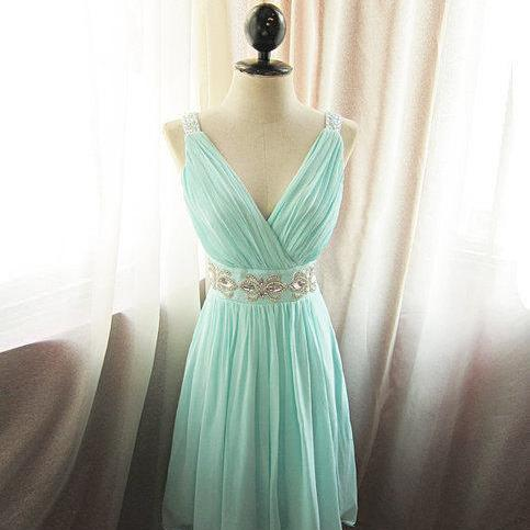 Custom Cheap A line V neck Beaded Sash Chiffon Short Blue Prom Dresses Gowns 2016,Formal Evening Dresses Gowns, Homecoming Graduation Cocktail Party Dresses Plus size