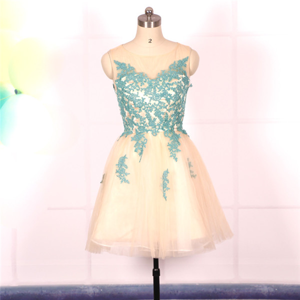 Champagne A-line Tulle Short Prom Dress with Turqoise Lace Appliqué