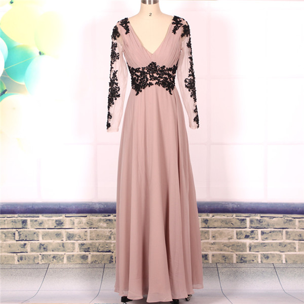 Custom Cheap A line V neck Open Back Long Elegant Lace Prom Dresses with Long Sleeves Gowns 2016,Formal Evening Dresses Gowns, Homecoming Graduation Cocktail Party Dresses, Holiday Dresses, Plus size