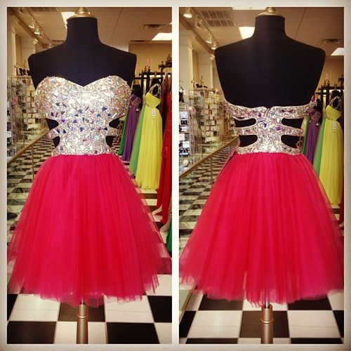 Red Strapless Sweetheart Beaded Cutout A-line Short Homecoming Dress, Party Dress, Prom Dress