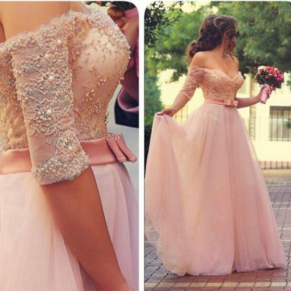 Custom Cheap A line Off the Shoulder Sweetheart Long Half Sleeves Pink Prom Dresses Gowns 2016, Formal Evening Dresses Gowns, Homecoming Graduation Cocktail Party Dresses, Holiday Dresses, Plus size
