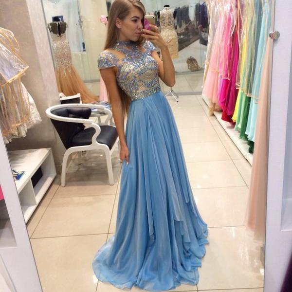 Custom Cheap High Neck Heavy Beaded Cap Sleeves Chiffon Long Blue Prom Dresses Gowns 2016, Formal Evening Dresses Gowns, Homecoming Graduation Cocktail Party Dresses, Holiday Dresses, Plus size