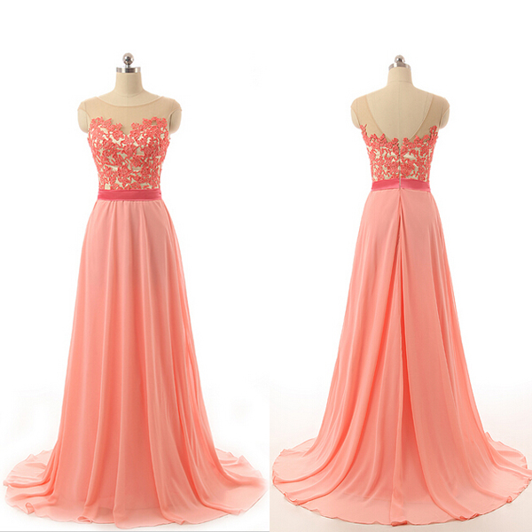 Custom Cheap Cap Sleeves Coral Pink Lace Long Prom Dresses Gowns 2016, Formal Evening Dresses Gowns, Homecoming Graduation Cocktail Party Dresses, Holiday Dresses, Plus size