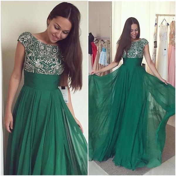 Green Prom Dress, Long Prom Dress, Cheap Prom Dress, Beaded Prom Dress, Affordable Prom Dress, Junior Prom Dress,Formal Evening Dresses Gowns, Homecoming Graduation Cocktail Party Dresses, Holiday Dresses, Plus size