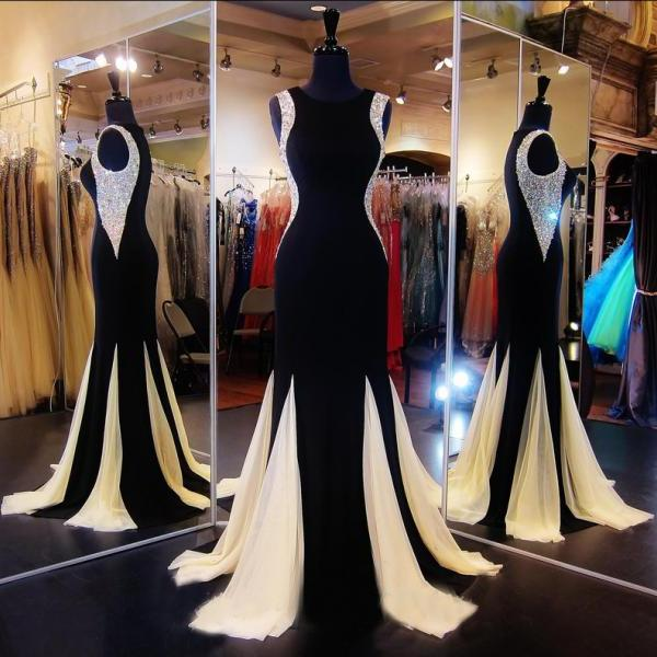 Custom Beaded Black Long Mermaid Prom Dresses Gowns 2016,Formal Evening Dresses Gowns, Homecoming Graduation Cocktail Party Dresses Plus size