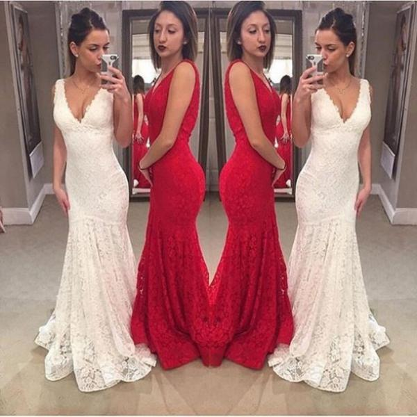 Custom White Prom Dress, Long Prom Dresses,Mermaid Prom Dress, Lace Prom Gowns, Prom Dress Mermaid, Formal Evening Dress, Graduation Dress, Party Dress