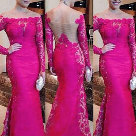 Custom Long Sleeves Prom Dress, Hot Pink Prom Dress, Long Prom Dresses,Mermaid Prom Dress, Illusion Prom Gowns, Prom Dress Mermaid, Formal Evening Dress, Graduation Dress, Party Dress