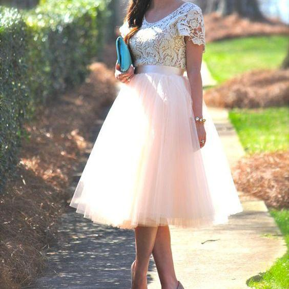 Custom Pink Prom Dress with Short Sleeves Knee Length Prom Dresses,Tulle Prom Dress,Lace Prom Dress, Lace Homecoming Dress,Cheap Prom Gowns, Formal Dress, Pink Homecoming Dresses, Graduation Dress, Party Dress