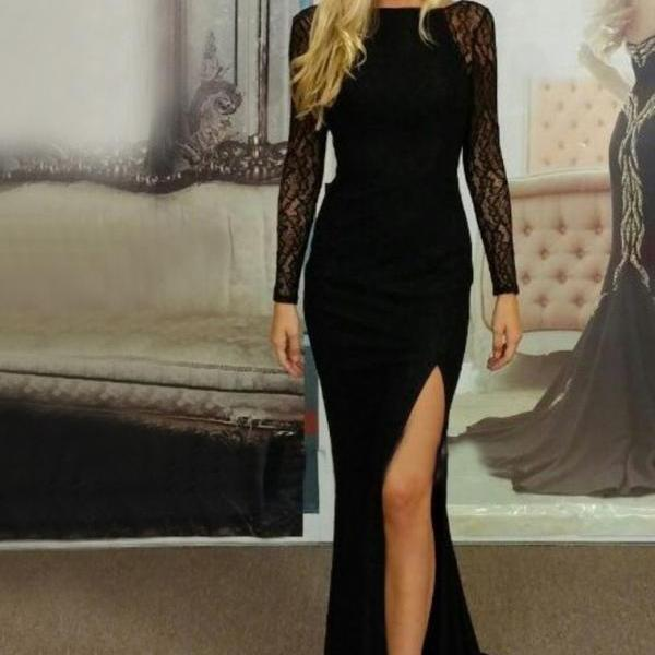 Prom Dress with Long Sleeves, Black Prom Dress, Chiffon Prom Dress,Sexy Prom Dress,Backless Prom Dress,Prom Gown,Black Evening Dress, Long Sleeves Evening Dress, Sexy Evening Dress, Cheap Prom Dress,Formal Dress, Homecoming Dresses, Graduation Dress, Party Dress