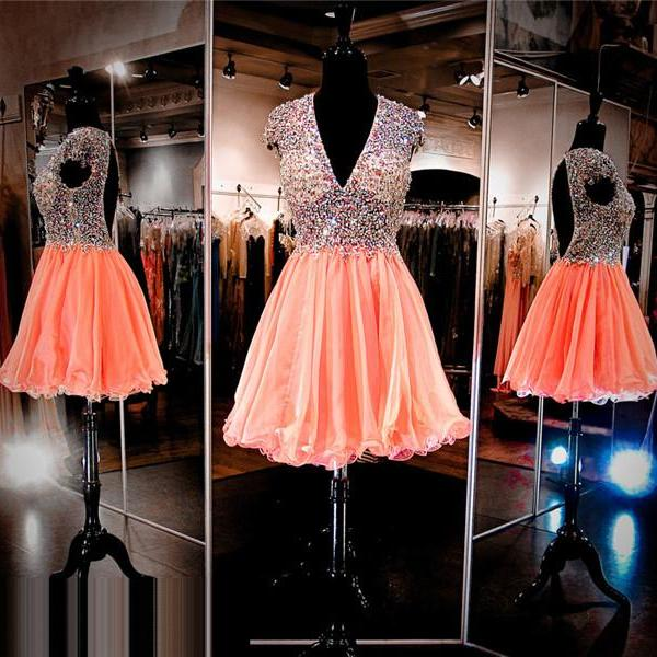 Coral Prom Dress,Short Prom Dress,Prom Dress with Deep V neck,Open Back Prom Dress, Sexy Prom Dress,Sparkle Prom Dress,Bling Bling Prom Dress,Cheap Homecoming Dress, 8th Grade Prom Dress,Holiday Dress,Coral Evening Dress, Short Evening Dress,Formal Dress, Homecoming Dresses, Graduation Dress, Cocktail Dress, Party Dress