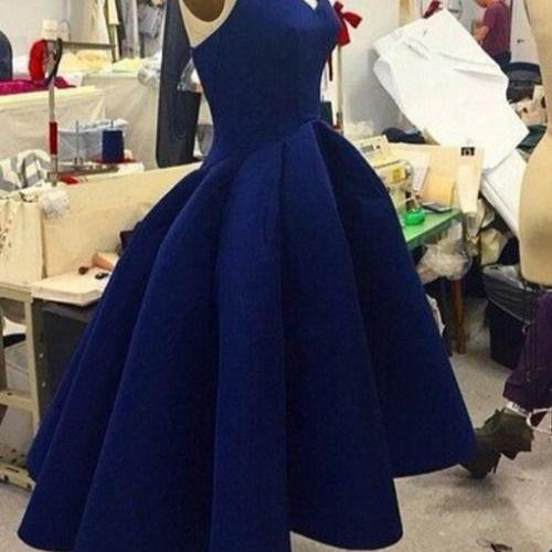 Cute Homecoming Dress,Simple Ball Gown Short Dark Blue Prom Dress for Teens, Navy Homecoming Dresses, High Low Prom Dress, Unique Party Dress, Satin Prom Dress