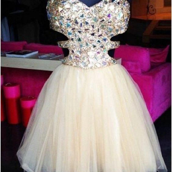 Stunning A-line Sparkle Short Beige Tulle Prom Dresses, Short Homecoming Dresses, Lovely Party Dresses, Cocktail Dresses, Tulle Rhinestone Short Prom Dresses, Homecoming Dresses