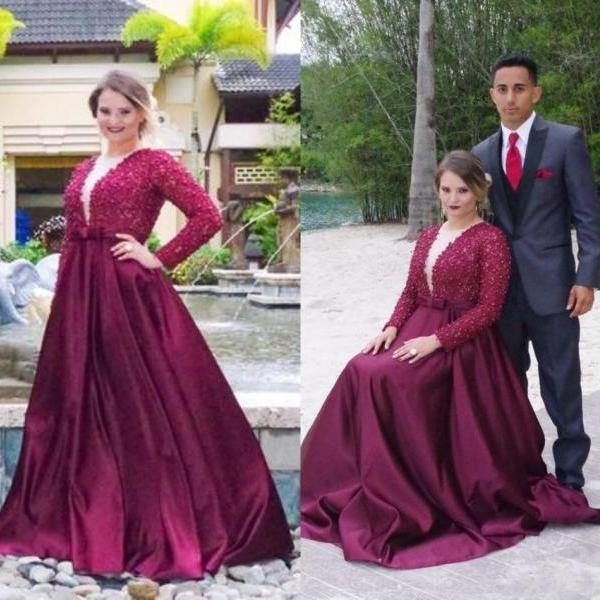 Plus Size Prom Dresses,Purple Prom Gown,Prom Dresses Long Sleeves, Evening Gown Long, Plus Size Evening Dress,Formal Dress,Maxi Dress,Party Dress,Ball Gown,Cocktail Dress,Graduation Dress
