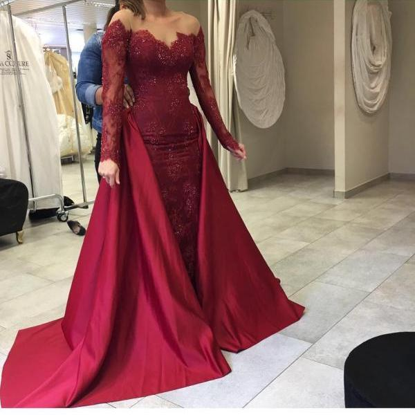 Long Sleeves Prom Dress,Prom Gown,Cheap Prom Dress,Lace Prom Dress,Sheath Prom Dress,Burgundy Prom Dress,Affordable Prom Dress,Formal Dress,Evening Dress,Custom Plus size