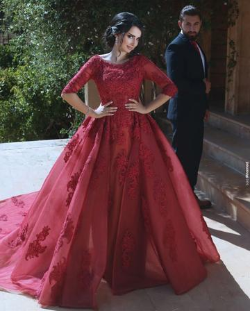 853aad6f05af A line Ball Gown Long Burgundy Lace Prom Dresses with Sleeves Formal  Evening Gown Quinceanera Dress Party Dress Custom Plus size 2018